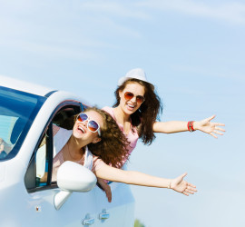 two girls in car