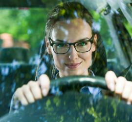 woman driving car
